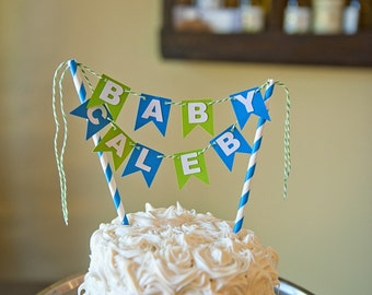 Baby Shower Mini Cake Topper Bunting
