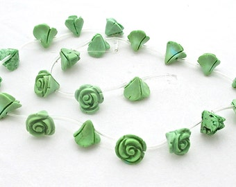 Green Turquoise carved rose flower beads