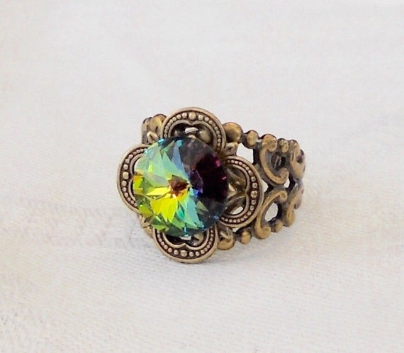 osO FASCINATION Oso Vitrail brass medieval ring