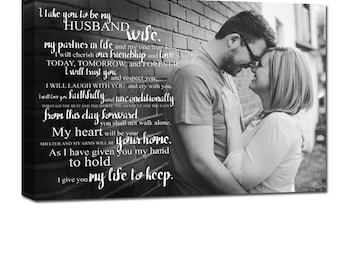 Wedding Vows Personalized Wedding Photo Words Canvas, Engagement  Anniversary Just Married  Photo 18X24 Geezees