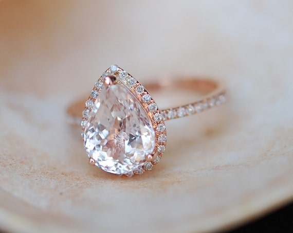Engagement Ring Champagne Sapphire Engagement Ring 14k Rose Gold 3ct, Pear Cut White Sapphire Ring. Engagement ring by Eidelprecious