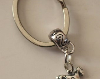 Sterling PAINTED PONY Key Ring, Key Chain - Horse, Equestrian, Whoa Team