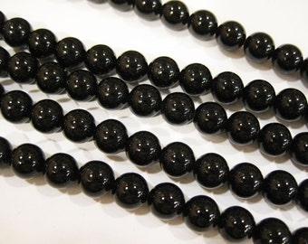 Black Onyx Round 8mm Gemstone Beads 8 inch strand