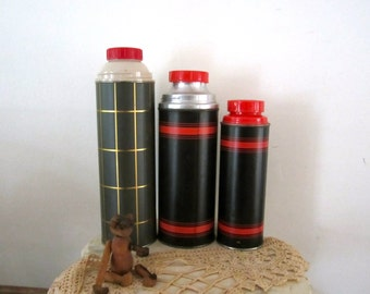 Thermos Pots Lot Instant Collection of 3 Metal Thermos Container Hot  & Cold Bottles Aladdin Quart Pint Kitchen Decoration Primitive Cottage