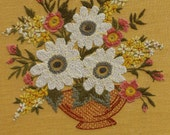 VINTAGE floral crewel needlepoint artwork in yellows with shabby wood frame