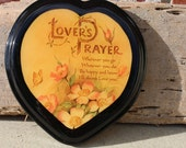 Vintage Lovers Prayer Plaque, wedding gift, bridal present, wood heart sign, shellac, Anniversary gift