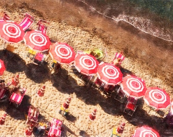 Red Umbrellas on an Italian Beach Archival Photo Print