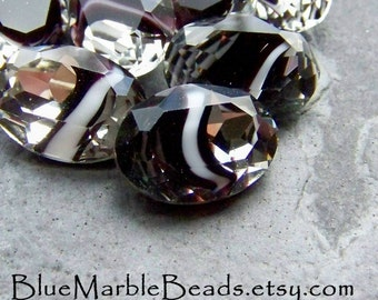 Glass Cabochons-Oval Cabochons-Givre-Contemporary Crystal Deep Purple Black and White Oval Cabochons-14 x 10-8 Stones