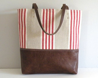 Linen Tote, Leather Bottom bag, Beach carryall, red striped tote with leather handle
