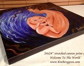 """Welcome To The World, 24x24"""" stretched canvas print from an original painting by Katie m. Berggren"""