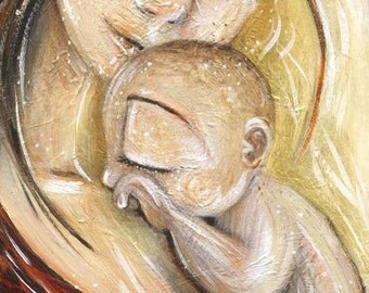 Solace, mother and newborn print from an acrylic painting by Katie m. Berggren