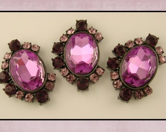 2 Hole Slider Beads QTY 3 Purple Glass Facets with Amethyst Swarovski Crystal Elements