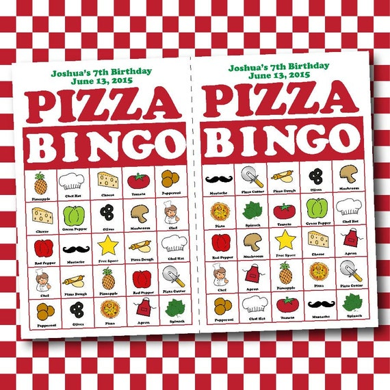 pizza bingo birthday board game electronic by cbendeldesigns