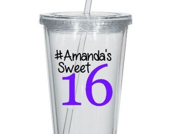 Sweet 16 Tumbler Decals, Personalized 16th Birthday Tumbler Decals, Cups NOT Included