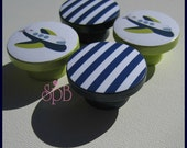 Kids Dresser Knobs - Drawer Pulls - Airplane Knobs - Boys Knobs - Navy Stripe - Wood Knobs - 1-1/2 Inches