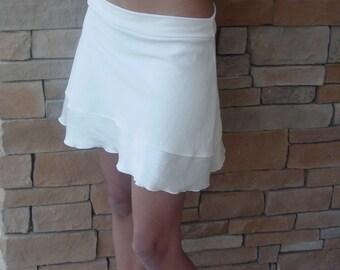 Natural Hemp Silk Mini Flounce Skirt/Sustainable Mini Skirt/Hemp Tencel Mini/ Bamboo Organic Cotton waistband