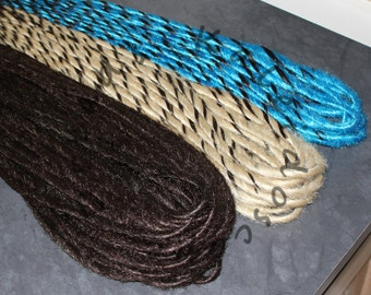 Custom Solid and Candy-Cane Full Set 40x DE or 80x SE Synthetic Dreadlock Hair Extensions