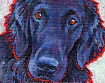 Flat Coated Retriever Dog Portrait Art Original Painting on Canvas 8x8 by Lynn Culp