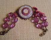 Pink Czech Glass Button and Bead Bracelet