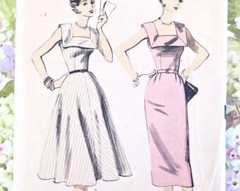 Vintage 1950s Womens Square Neck Dress Pattern - Advance 6643