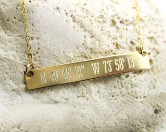 Latitude Longitude Gold Filled Necklace | Personalized | Engraved.  (NN084)