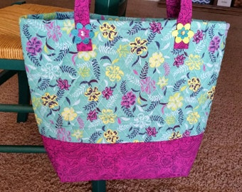 Quilted Flower Tote Bag