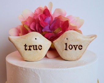 Wedding cake toppers / true love birds / rustic handmade bride and groom topper birds for your wedding cake decor / true love topper