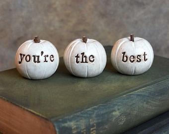 You're the best pumpkins ... handmade keepsake clay fruit ... 3 Word Pumpkins, Holiday gift