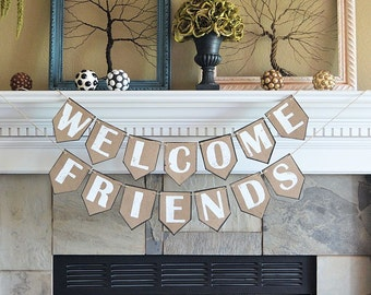 Wedding party reception pennant banner, WELCOME FRIENDS, rustic celebration decor decorations