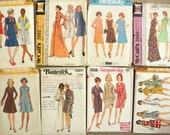 Lot of 8 vintage sewing patterns - 1960s and 1970s - womens dresses - 36 bust