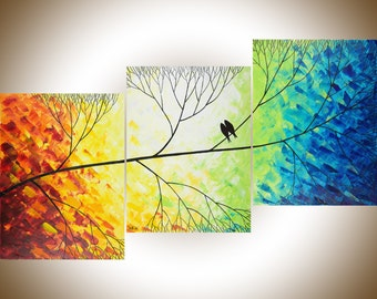 "54"" large art acrylic painting  Love Birds on tree branch wall art decorative art Wall decor canvas art ""Beautiful Day"" by QIQIGALLERY"