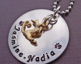 Cat Personalized Necklace - Personalized Kitty Name -Cat Custom Necklace- P18