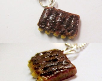 Rack of BBQ Ribs Necklace, Realistic Miniature Food Jewelry, Polymer Clay Jewelry