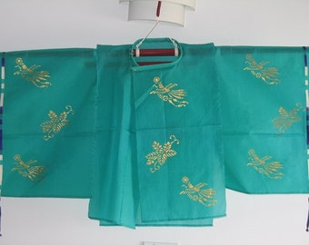 Sheer Green Hagoromo Style Boys Top for Stage and Cosplay