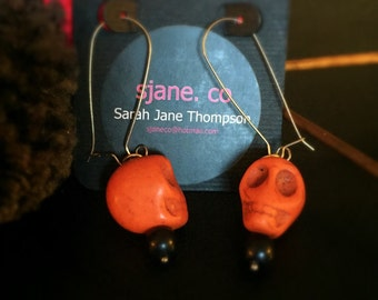 Orange Howlite Skull Earrings