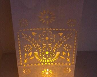 Luminaries (per dozen) floral Papel Picado Fiesta Wedding Candle bags luminarias aisle light