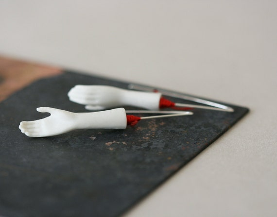 Right / Right Earrings - Porcelain and Sterling Silver Earrings
