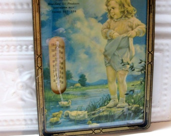 Vintage Advertising Wall Hanging, Thermometer with Print, Standard Oil, Michigan