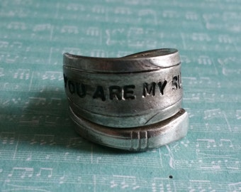 you are my sunshine silver plated spoon ring