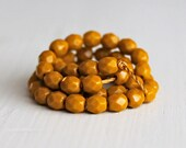 50 Opaque Goldenrod Faceted 4mm Rounds - Czech Glass Beads