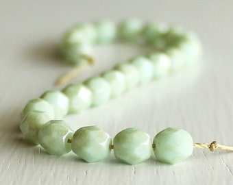 25 Opaque Seafoam Gold Dust 6mm Faceted Czech Glass Round