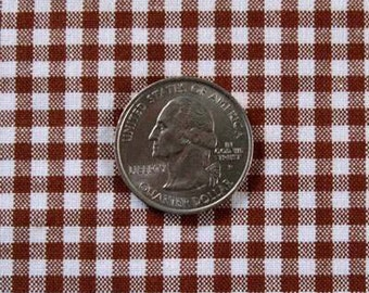 "GINGHAM CHECK 1/8"" Brown & White 100% Cotton Fabric - by the Yard, Half Yd, Quarter Yd, FQ (16 other colors)"