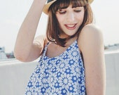 Eclectic Blue Floral Motif Cropped Camisole - S to M