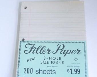 Vintage lined school paper 3 hole filler nos