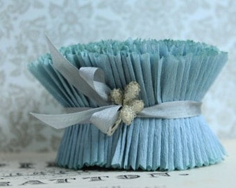 NEW! Crepe Paper Ruffles Blue Bird - 34 Inches Pastel Ruffle Trim - Hand Dyed Blue Wedding Garland - 2 Inch Wide Crepe Paper Ruffled Trim