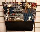 Japanese Castle and Daruma Japanese Canvas Tote Bag with Rope Handles