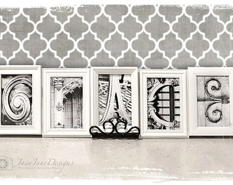 4x6 Letter, Alphabet Photography, Individual 4x6 Black and White Photo for Name Frames
