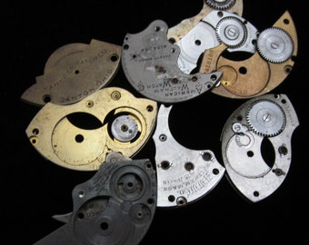 Destash Steampunk Watch Clock Parts Movements Plates Art Grab Bag RD 5