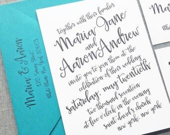 Maria Black Script Wedding Invitation Sample - Hand Lettering Script Calligraphy Wedding Invitation