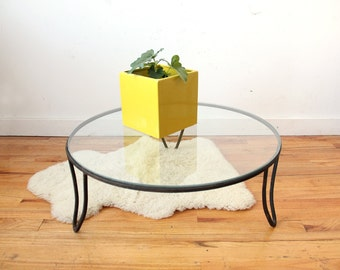 Low Round Iron Hairpin Glass Coffee Table / Plant Stand